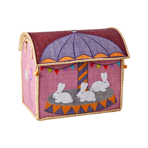 rice dk RAFFIA SMALL TOY BASKETS WITH CAROUSEL THEME