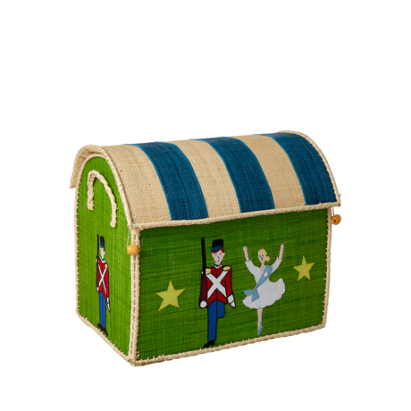 Rice DK Raffia Small Toy Basket Tin Soldier - TO BE DELIVERED BY EARLY TO MID JULY