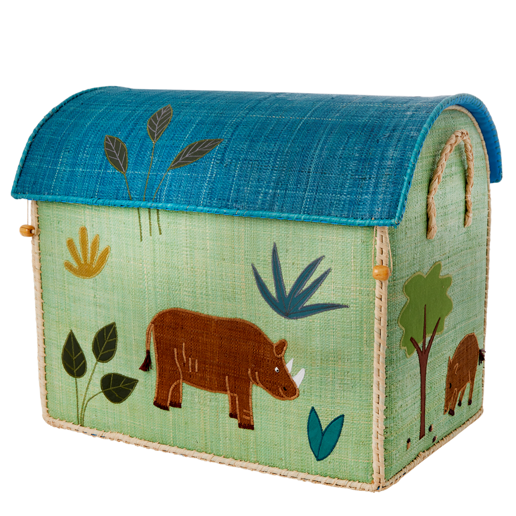 Rice DK Handmade Embroidered Large Raffia Toy Basket JUNGLE BOYS THEME - TO BE DELIVERED BY EARLY TO MID JULY