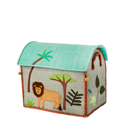 Rice DK Handmade Embroidered Small Raffia Toy Basket JUNGLE BOYS THEME