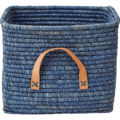 Rice DK Large Handmade Raffia Baskets with Leather Handles