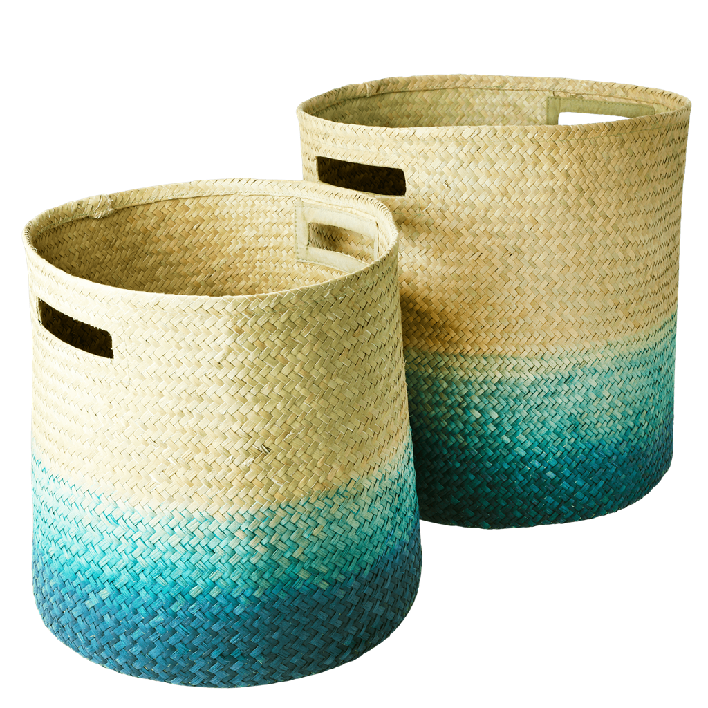 Rice Dk | Set of 2 Seagrass Woven Gradient Baskets