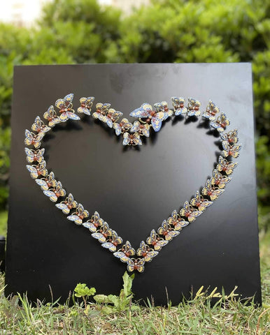 Heart of Love and Life Wall Art Black