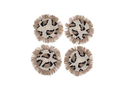 Animal Print Fringed Coasters, Set of 4