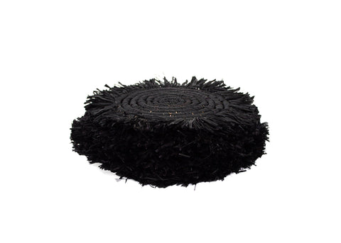 Black Fringed Raffia Drink Coasters, Set of 4