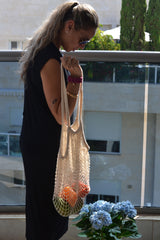 Cotton Mesh Tangerine Red Eco Bag | Cool Eco Bags