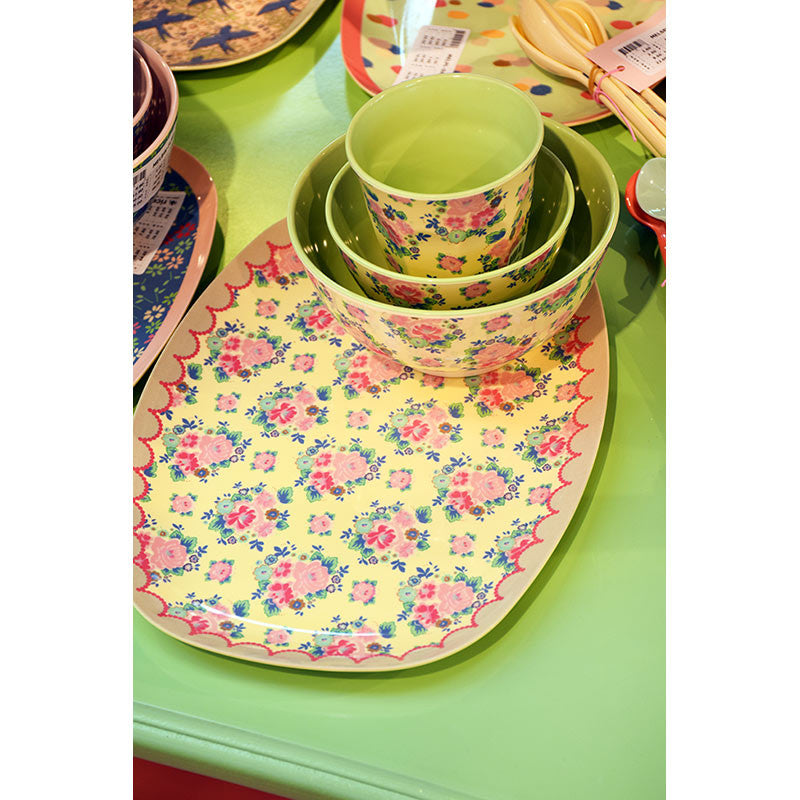 Rice DK | Two-Tone Small Melamine Bowl Dutch Roses Print