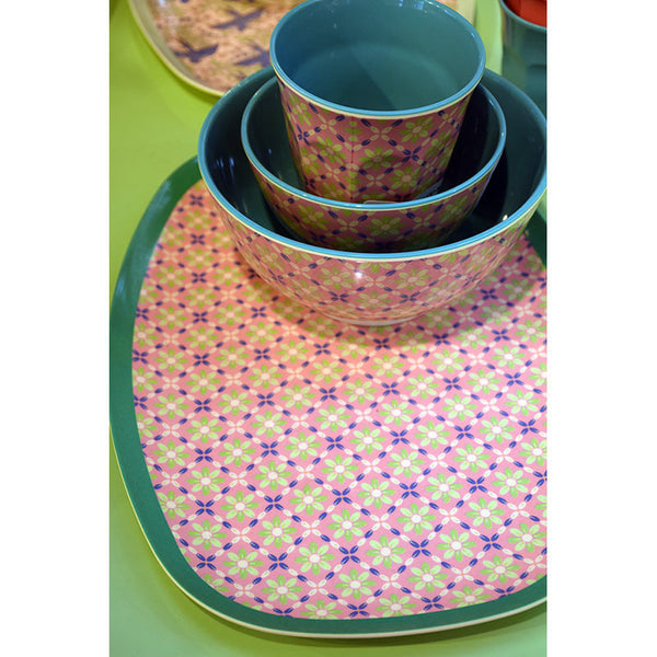 Rice DK | Two-Tone Small Melamine Bowl Flower Tile Print