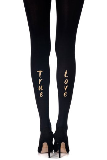 Zohara Black Opaque Tights True Love Print
