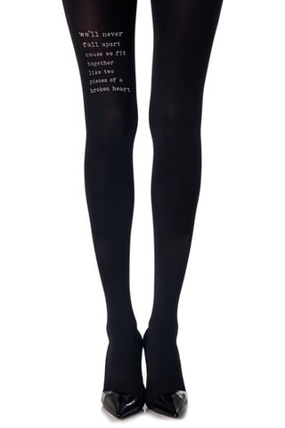 Zohara Black Tights Tattoo Text Print