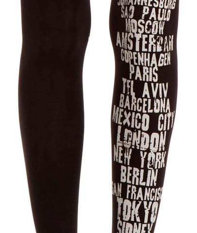 Zohara Black Opaque Tights Grey Text Print