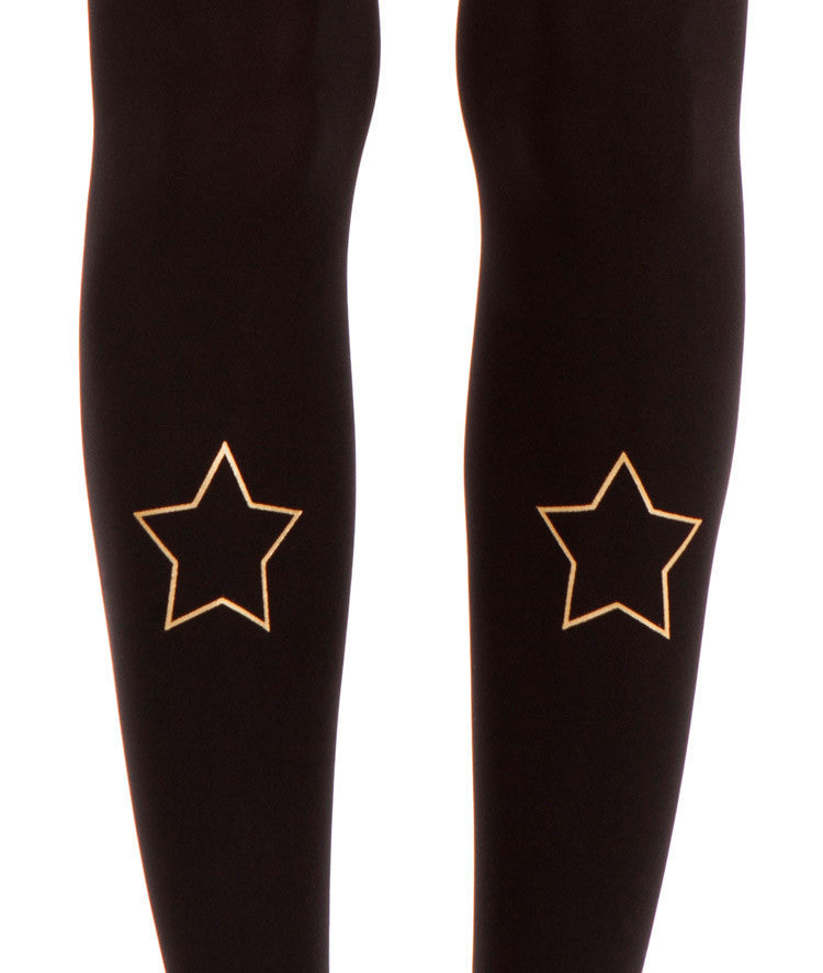 Zohara Black Opaque Tights Gold Star Print