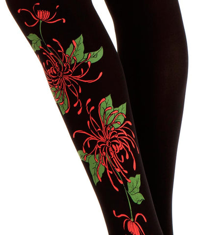 Zohara Black Opaque Tights Blossom Print