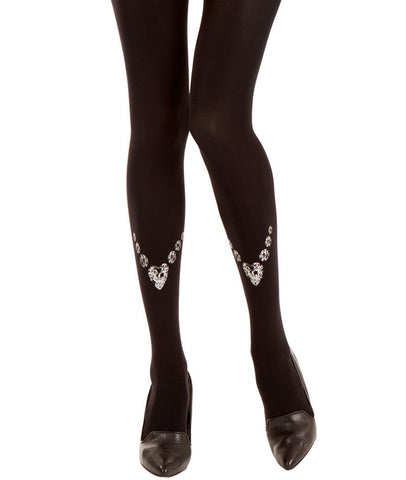 Zohara Black Opaque Tights Bling-Bling Print