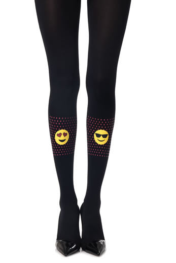 Zohara Black Opaque Tights Smiley Print