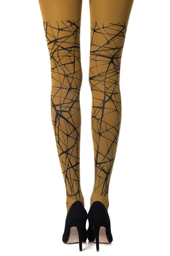 Zohara Mustard Opaque Tights Black Lost Print