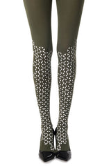 Zohara Green Opaque Tights Triangle Print