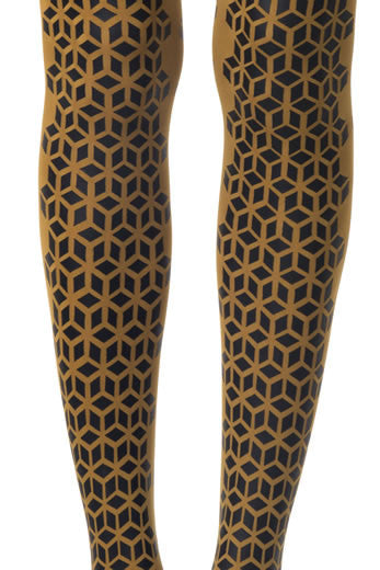 Zohara Mustard Opaque Tights Formation Print