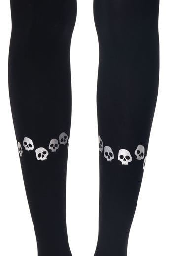 Zohara Black Opaque Tights Halloween Print