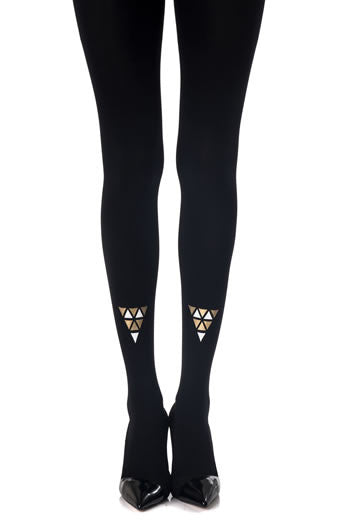 Zohara Black Opaque Tights Cleopatra Print