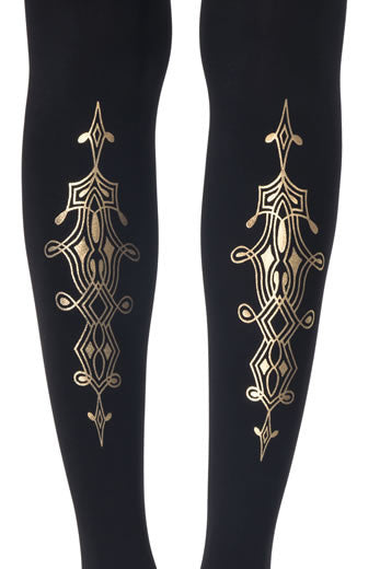 Zohara Black Opaque Tights Gold Print