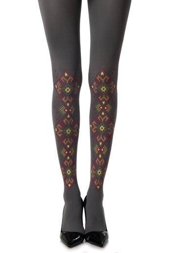 Zohara Grey Opaque Tights Goblens Print