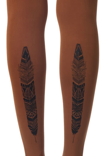 Zohara Orange Opaque Tights Feather Print