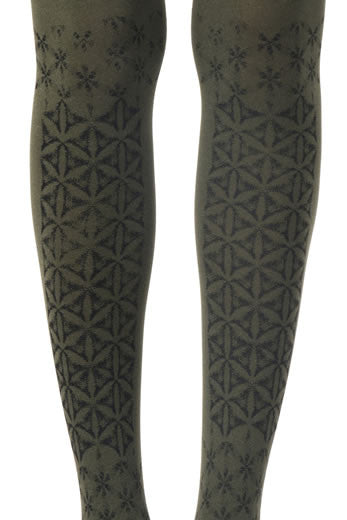 Zohara Green Opaque Tights Frozen Print