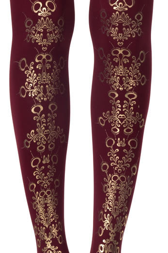 Zohara Burgundy Opaque Tights Flower Print