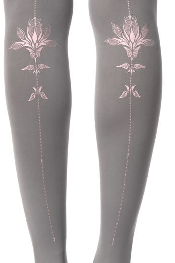Zohara Grey Opaque Tights Lily Rose Print