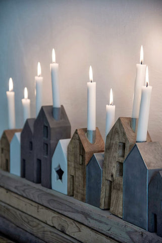 Madame Stoltz | Metal House Shaped Candle Holder