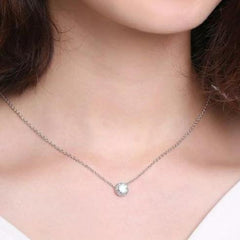 Necklace Round Cubic Zirconia Pendant in White Gold