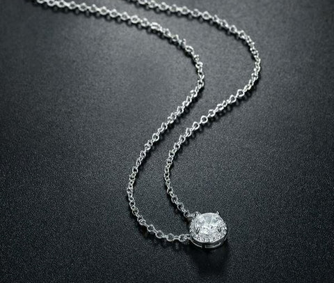 Necklaces with a Round Cubic Zirconia Pendant in White Gold Color Link Chain