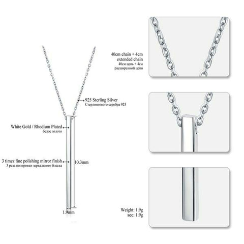 Geometric 925 Sterling Silver Pendant Necklace
