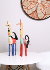 Colorful Raffia Giraffe Shelf Decor