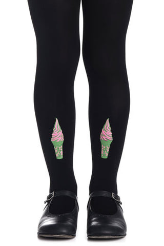 Zohara Kids Black Opaque Tights Ice Cream Print