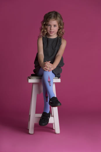 Zohara Kids Blue Opaque Tights Ice Cream Print