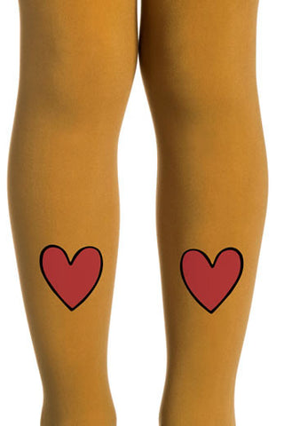 Zohara Kids Mustard Opaque Tights Heart Print