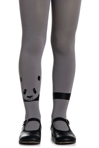 Zohara Kids Grey Opaque Tights Panda Print