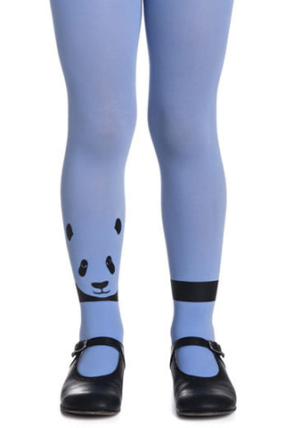 Zohara Kids Blue Opaque Tights Panda Print