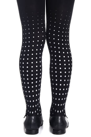 Zohara Kids Black Opaque Tights Polka Dot Print