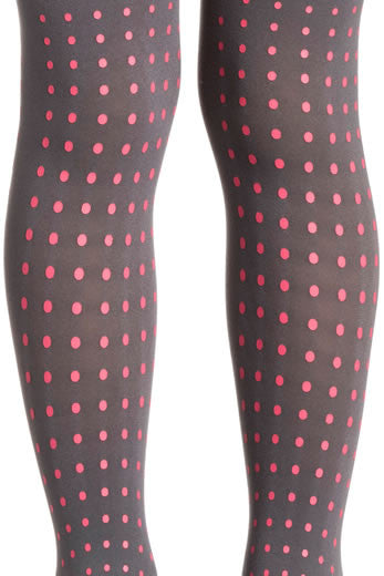 Zohara Kids Grey Opaque Tights Polka Dot Print