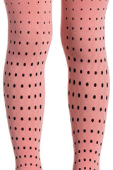 Zohara Kids Pink Opaque Tights Polka Dot Print