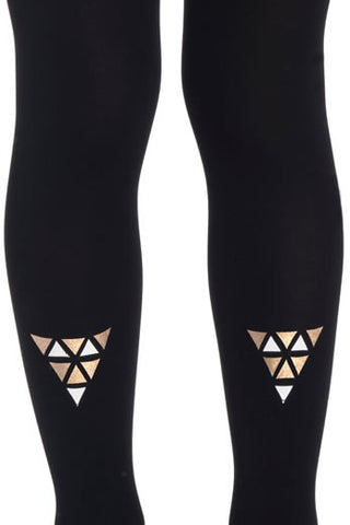 Zohara Kids Black Opaque Tights Cleopatra Print