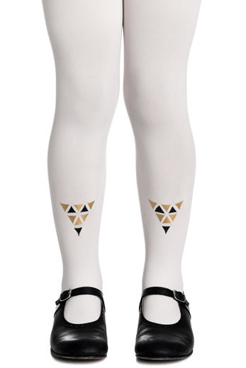 Zohara Kids Cream Opaque Tights Cleopatra Print