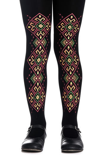 Zohara Kids Black Opaque Tights Goblens Print