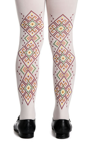 Zohara Kids Cream Opaque Tights Goblens Print