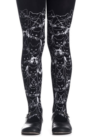 Zohara Kids Black Opaque Tights Cat Print