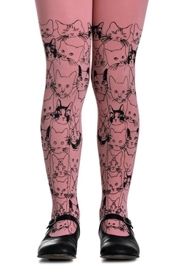Zohara Kids Pink Opaque Tights Cat Print