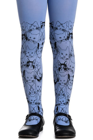 Zohara Kids Blue Opaque Tights Cat Print